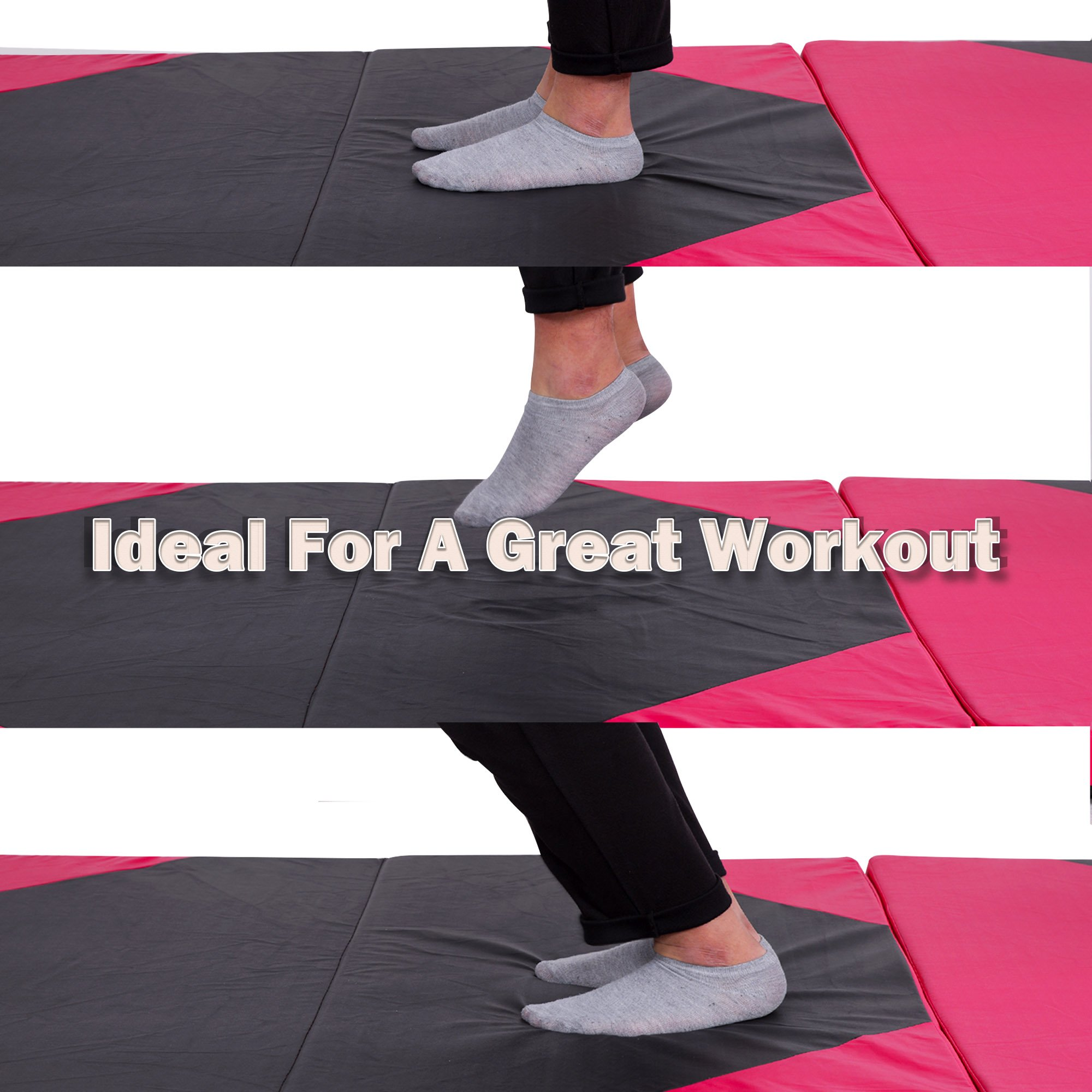 Sportmad 4'x10'x2 Thick Folding Panel Gymnastics Tumbling Mat Gym, Fitness, Exercise (Black/Pink) by Sportmad (Image #8)