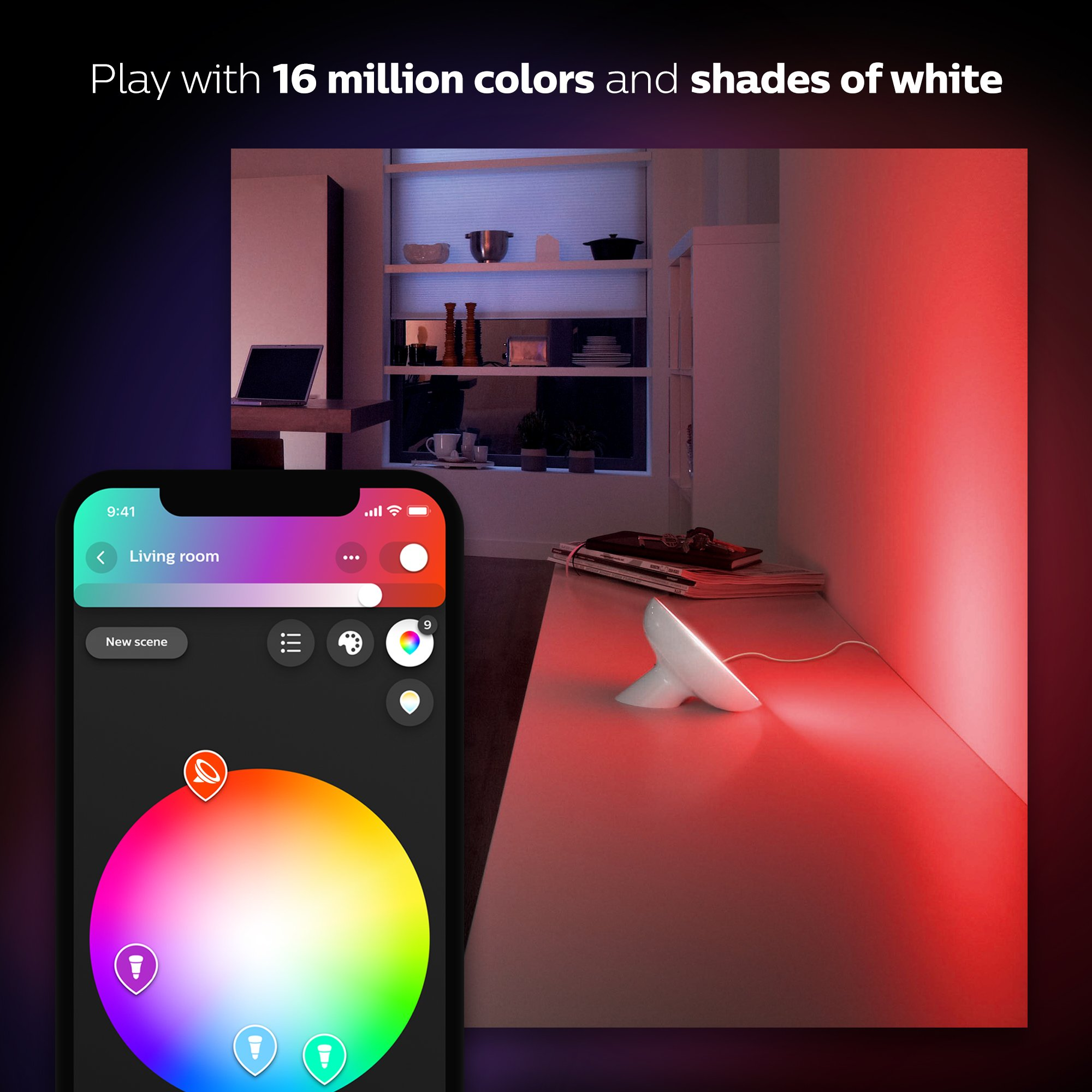 Philips Hue Bloom Dimmable LED Smart Table Lamp (Compatible with Amazon Alexa Apple HomeKit and Google Assistant) by Philips