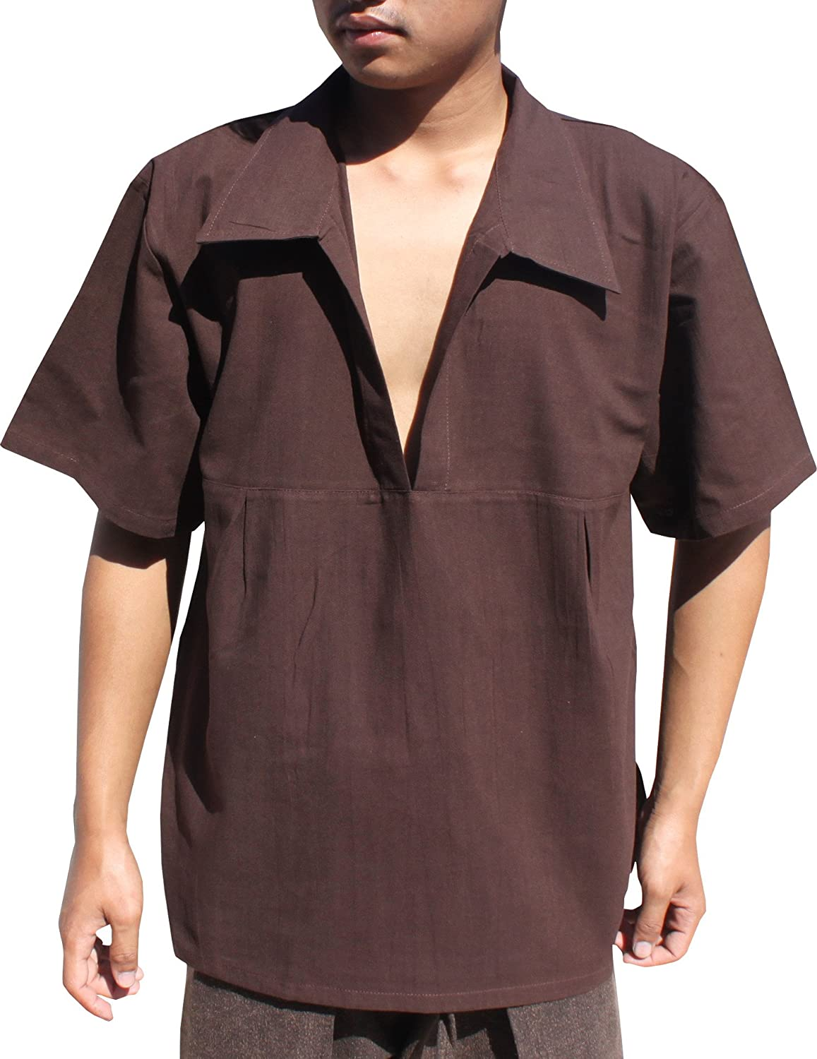 1960s Inspired Fashion: Recreate the Look RaanPahMuang Renaissance Summer Cotton Costume Shirt Wide Plunging Poets Collar $17.10 AT vintagedancer.com