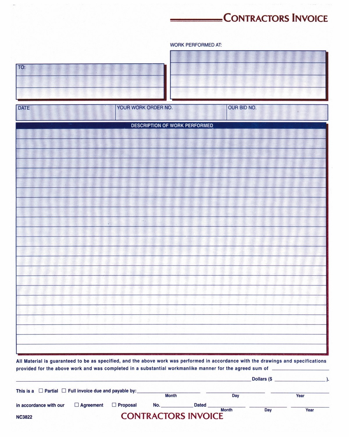 Amazoncom Adams Contractor Invoice Forms X Inch - Invoice format download online comic book store