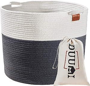 "DUUMI Cotton Rope Basket 17"" x 17"" x 15""Laundry Basket, Blankets Storage Bins Nursery Hampers"