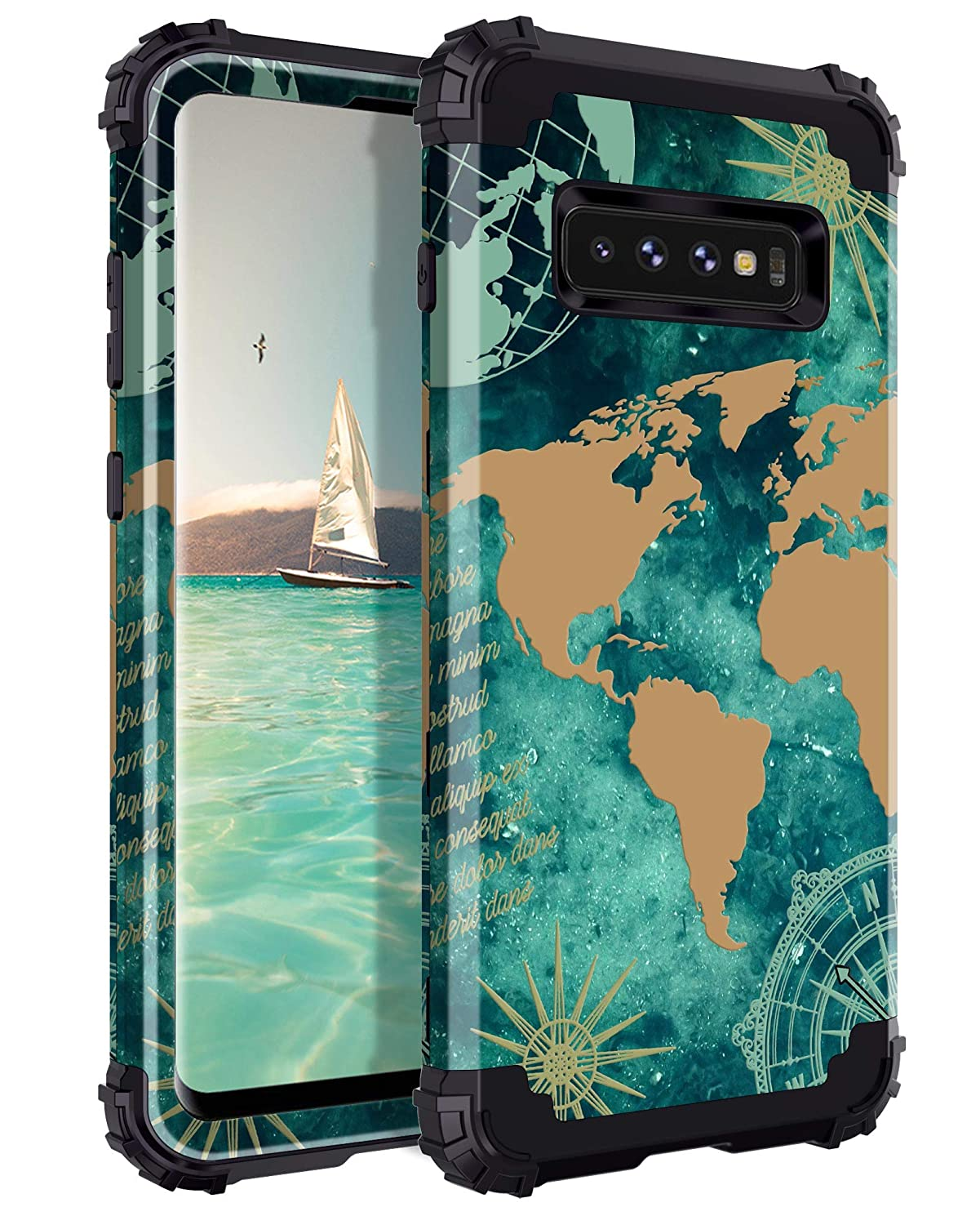 af8c18231f9 Lontect for Galaxy S10 Case Floral 3 in 1 Heavy Duty Hybrid Sturdy Armor  High Impact Shockproof Protective Cover Case for Samsung Galaxy S10, ...