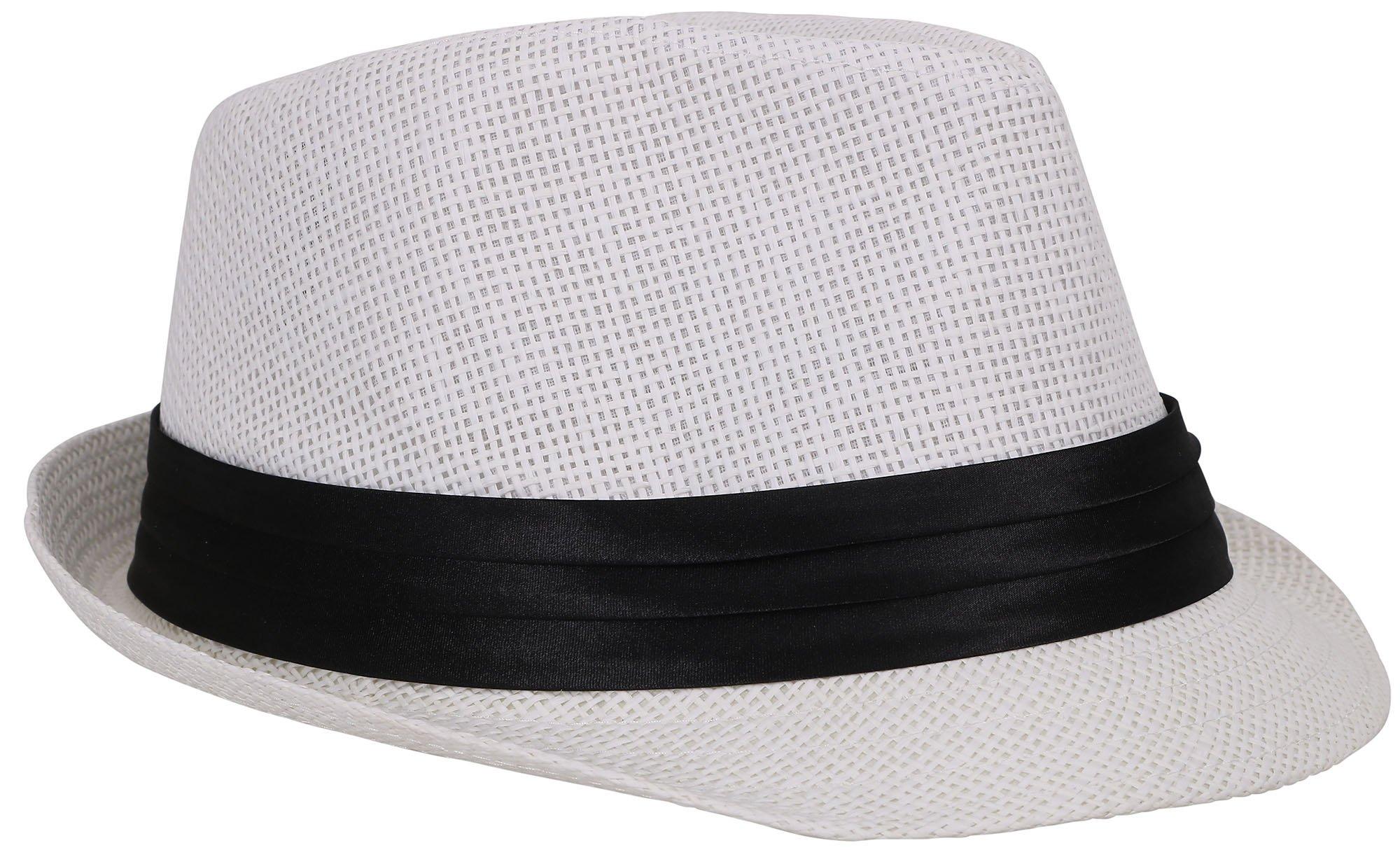 Verabella Beach Fedora Women/Men's Short Brim Straw Fedora Sun Hat,White,SM