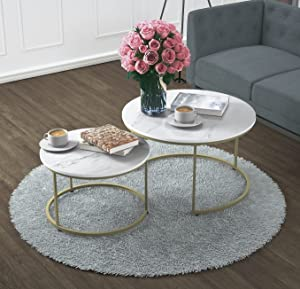 Yechen Coffee Table for Living Room, Set of 2 Modern Nesting Side Coffee Tables, Contemporary Accent Coffee and Snack End Table for Living Room,31 inch, White Table Top with Gold Metal Frame