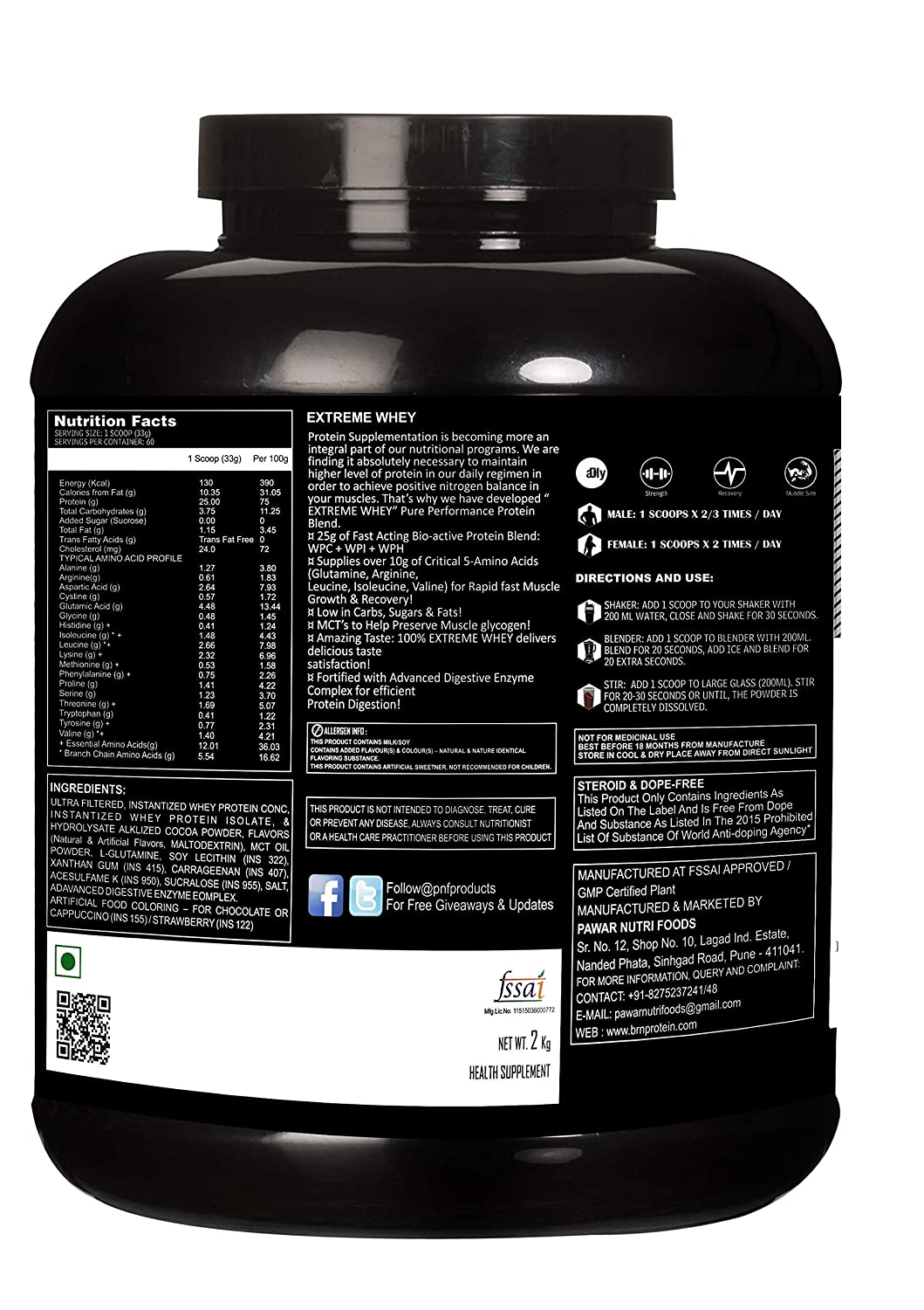 935fea678f1 BRN EXTREME WHEY PROTEIN 2KG (Dutch Chocolate)  Amazon.in  Health    Personal Care