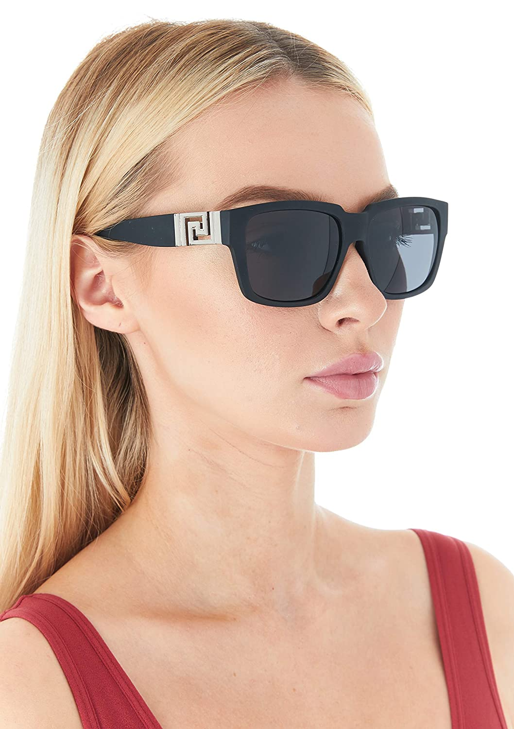 0474d7cb1d2d Amazon.com: DG Sunglasses for Women Oversized Eyewear Fashion - Assorted  Styles & Colors (Black/Silver, SG402): Clothing