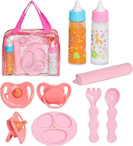 FASH N KOLOR Baby Doll Feeding Set with Doll Magic Bottles in a Baby Bag Set- 8 Piece Baby Doll Feeding Set with Baby Doll Accessories, Pretend Play Set for Kids 2+ Years