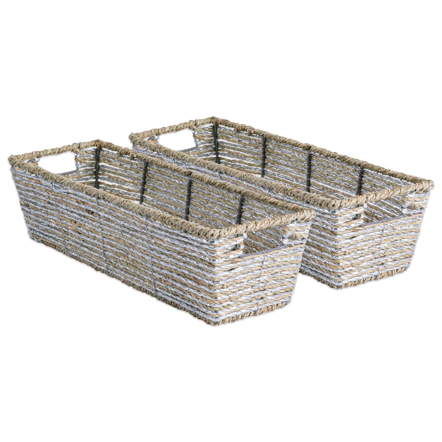 Amazon.com: DII Decorative Woven Seagrass Table Basket with Metallic ...