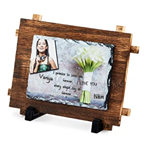Presto Personalised Gift Printable Stone Photo Frame with Your Photo and Message for Birthday Gift Corporate Gift