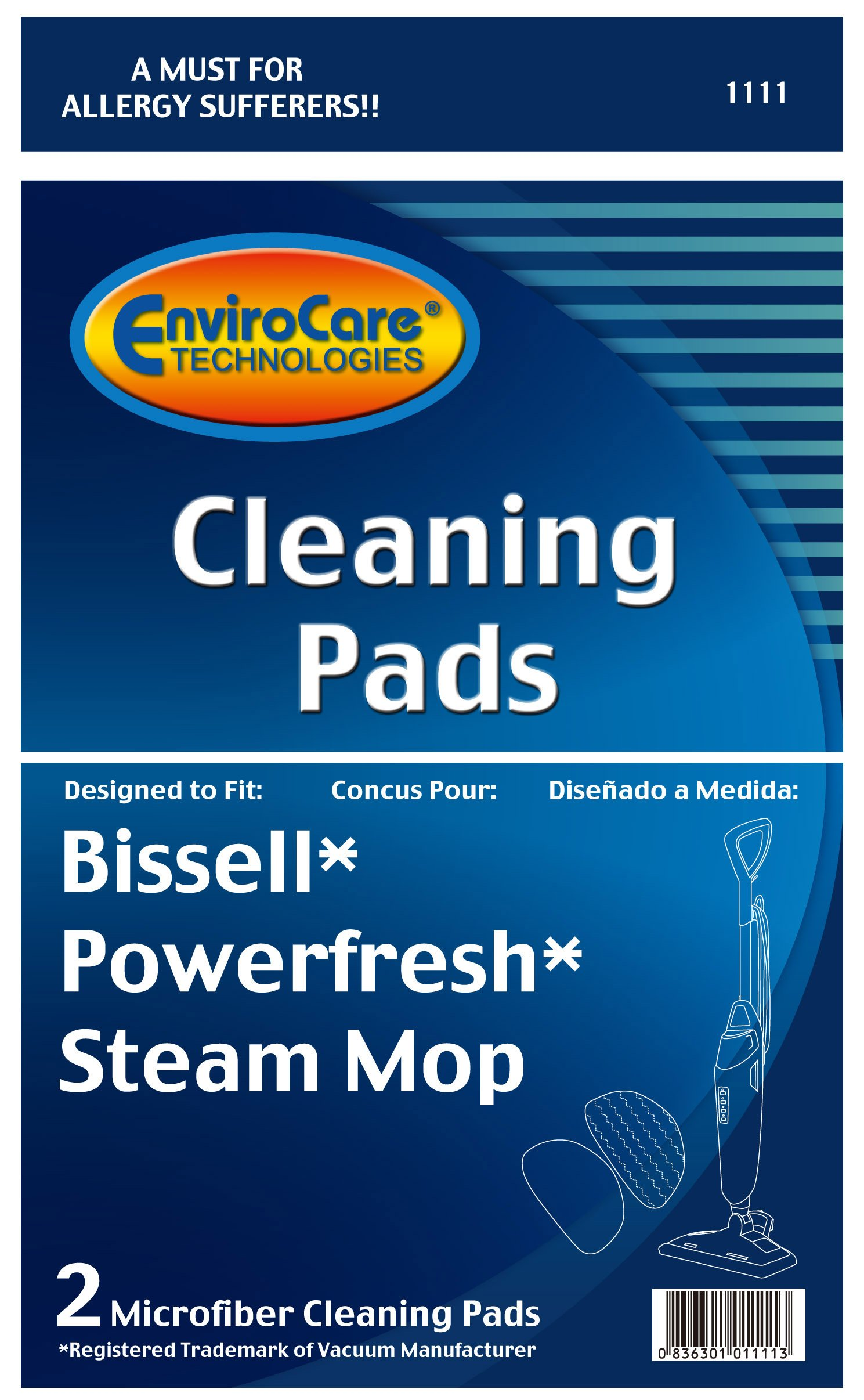 EnviroCare Replacement Cleaning Pads designed for Bissell Powerfresh Steam Mops 2 count