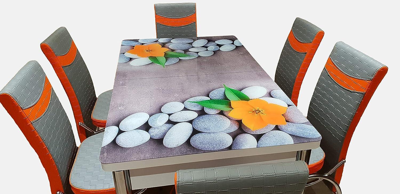 Mesa de Comedor Extensible de Cristal con 6 sillas: Amazon.es: Hogar