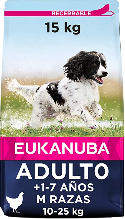 Oferta amazon: Eukanuba Alimento seco para perros adultos de razas medianas con pollo 15 kg