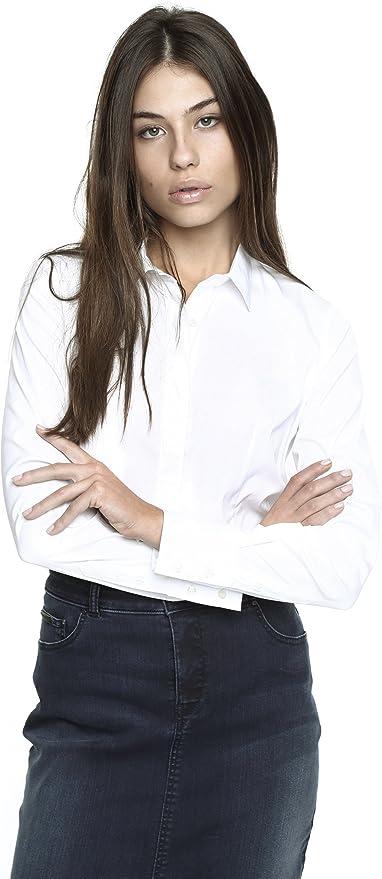 Caramelo, Camisa Pinzas Popelin Elástico, Mujer · Blanco ...