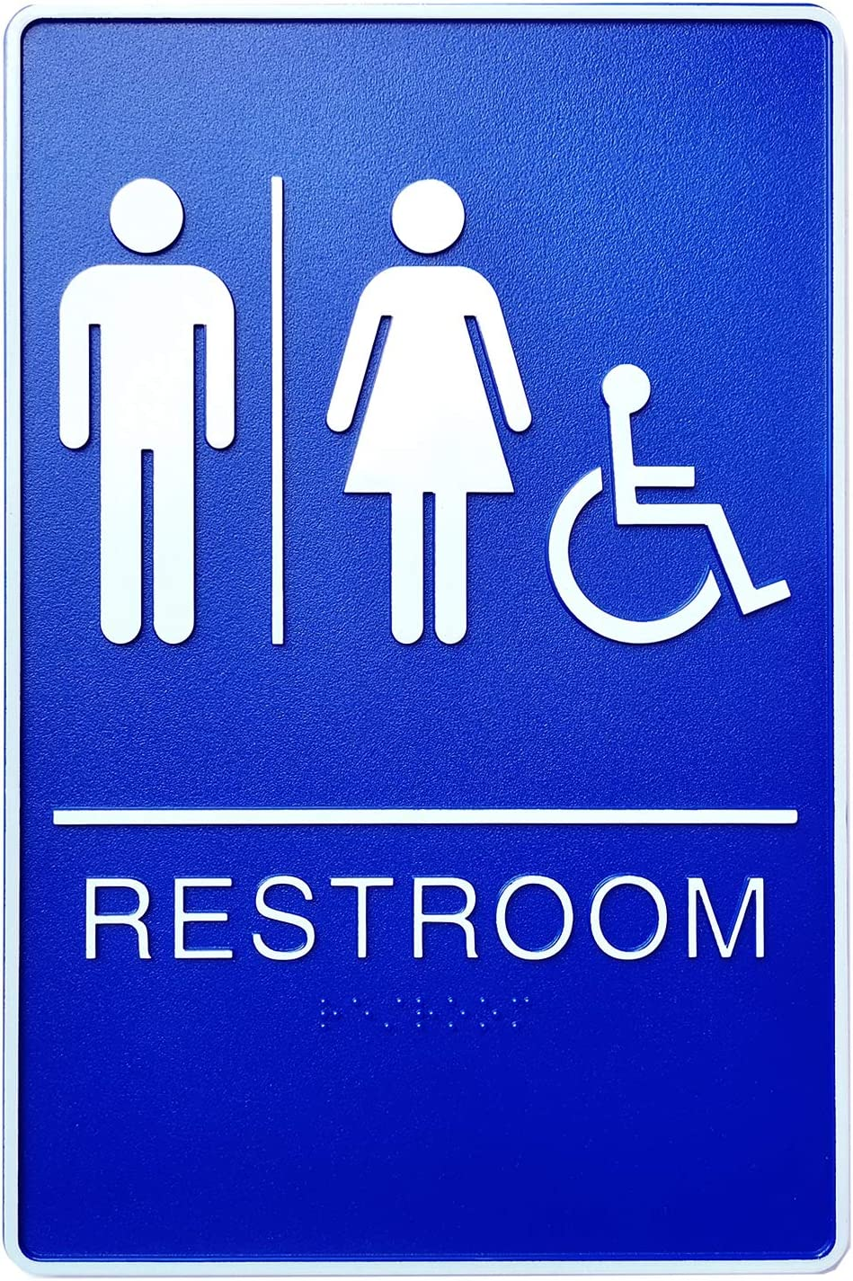 """Bebarley Self-Stick ADA Braille Unisex Restroom Signs with Double Sided 3M Tape for Office or Business Bathroom and Toilet Door or Wall Decor 9""""X6"""" (Blue)"""
