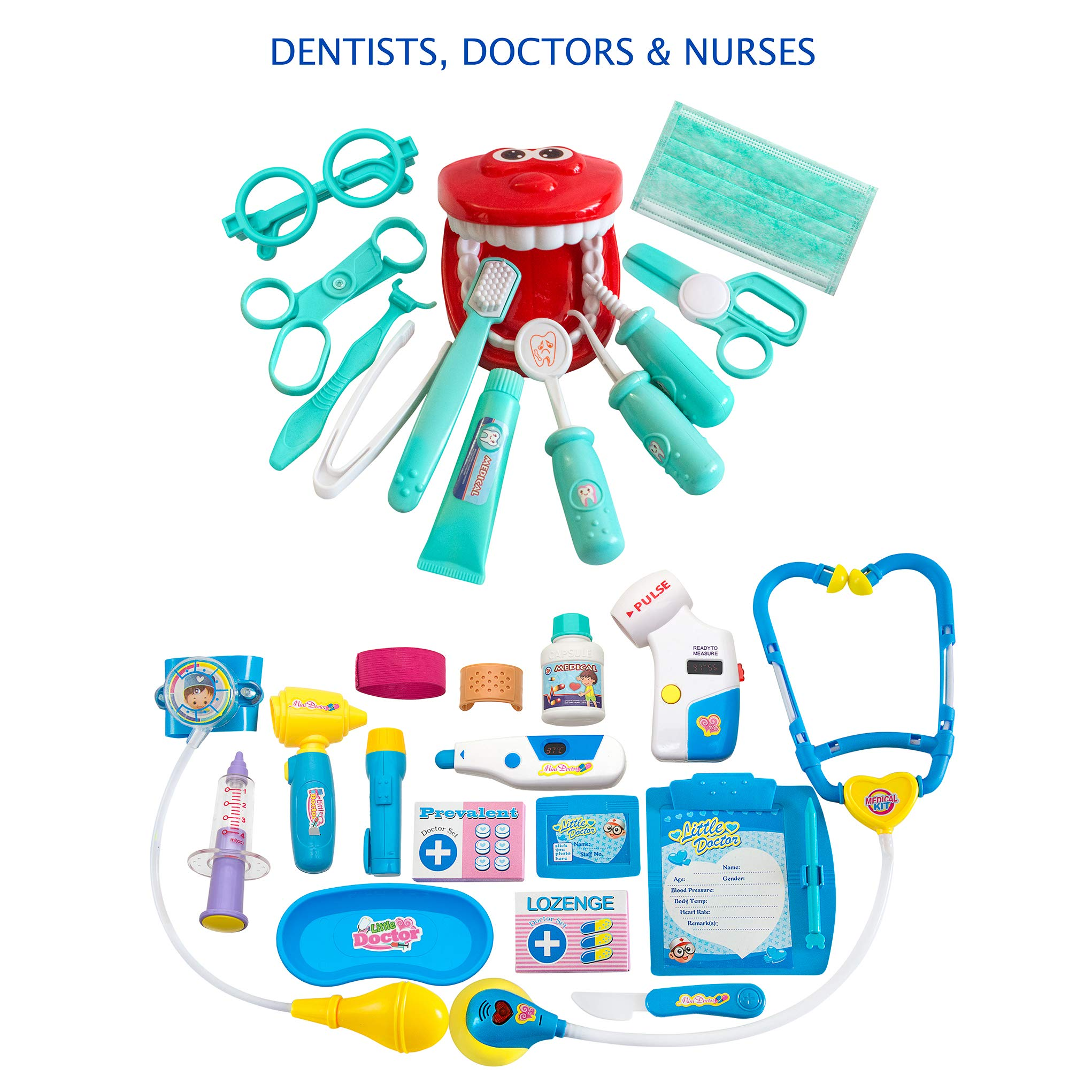 BRITENWAY Educational Doctor Medical Pretend Play Toy Set in Storage Box 34 Pcs - Battery Operated Tools with Lights & Sounds - Promote Learning, Hand to Eye Coordination, Fine Motor Skills by BRITENWAY (Image #2)