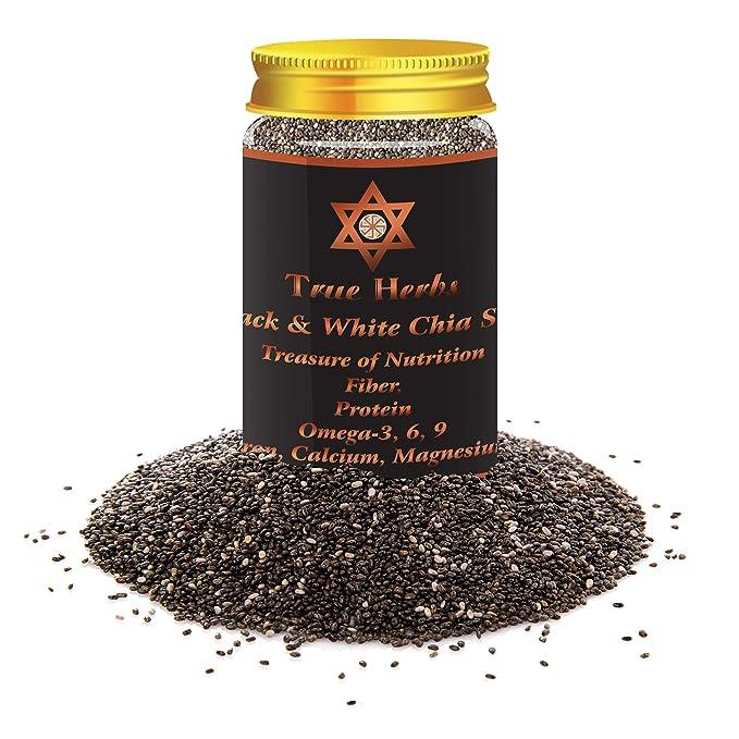 True Herbs USA Imported Premium Raw and Organic Black Chia Seeds, 150gm