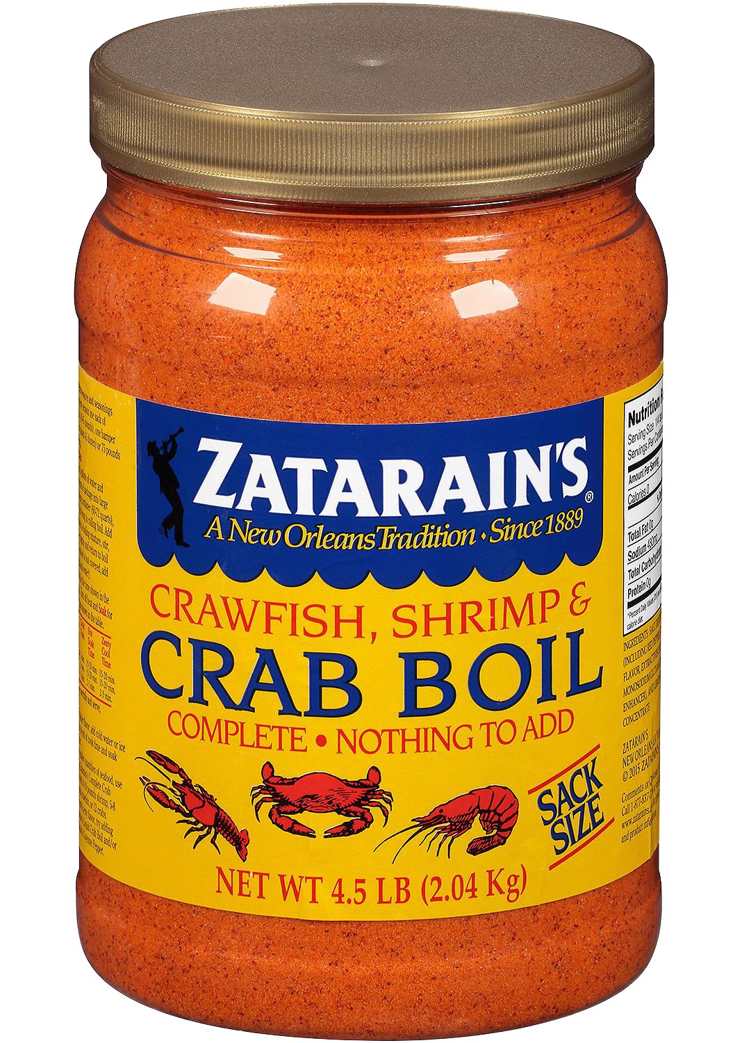Zatarains Pre-Seasoned Crab and Shrimp Boil 72 Ounce (Pack of 5 - Total 360 Ounce)