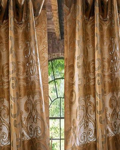 Kushala Silk scroll sheer curtain 52 W X 120 L