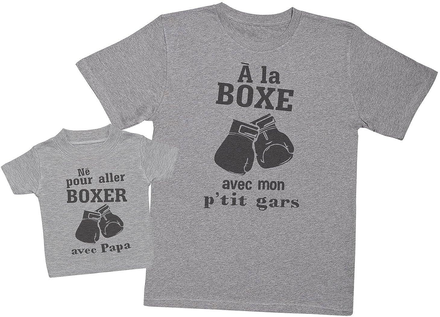 Hommes T-Shirt /& T-Shirt b/éb/é Ensemble P/ère B/éb/é Cadeau Zarlivia Clothing N/é pour Aller Boxer avec Papa