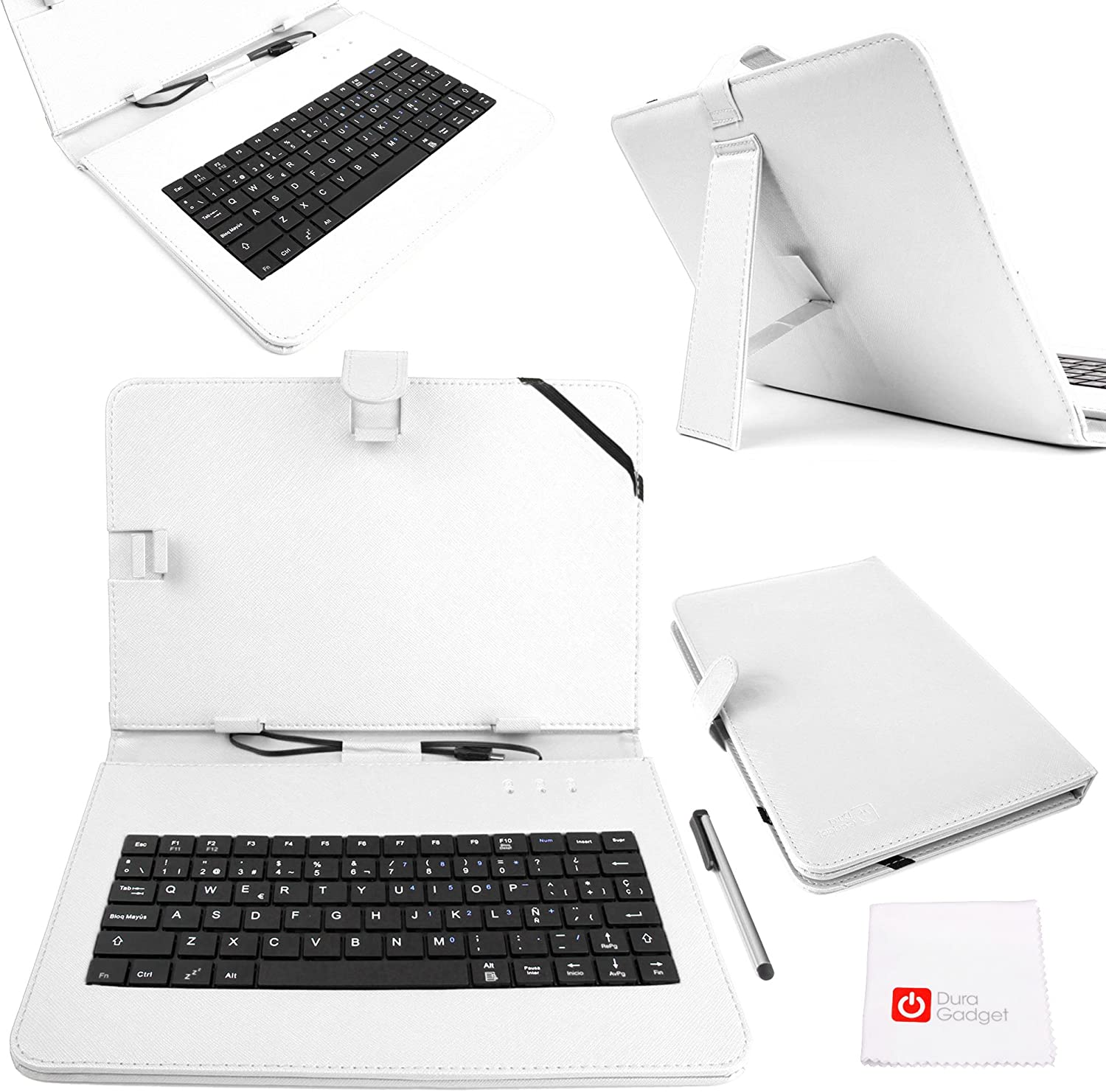 DURAGADGET ACER Iconia Tab 10 Premium Spanish (ES) QWERTY Keyboard Case for with Micro USB Connection in White Faux Leather - Compatible with The ACER Iconia Tab 10 A3-A20