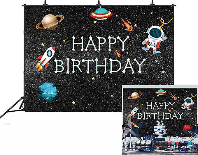 Kids 8x10 FT Photo Backdrops,Cute Cartoon Astronaut Pioneer Cat Flying in Outer Space Doodle Style Constellation Background for Baby Shower Birthday Wedding Bridal Shower Party Decoration Photo Studio
