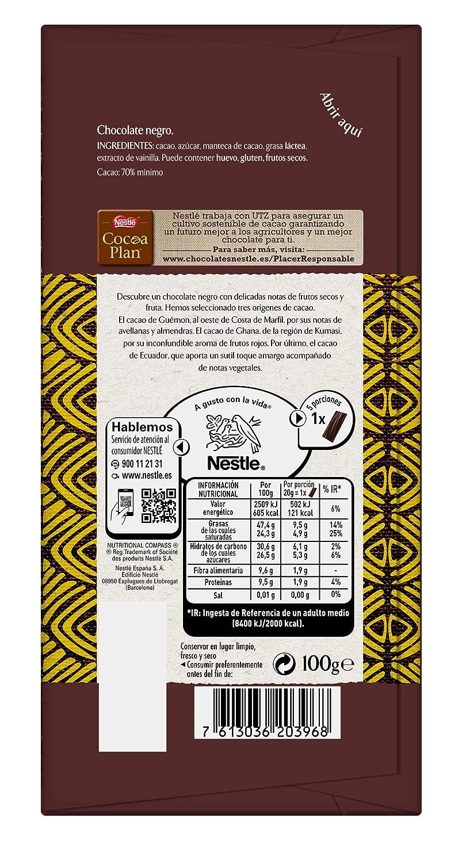 Nestlé Les Recettes de LAtelier - Chocolate negro 70% Cacao - Tableta de Chocolate 16x115g: Amazon.es: Alimentación y bebidas