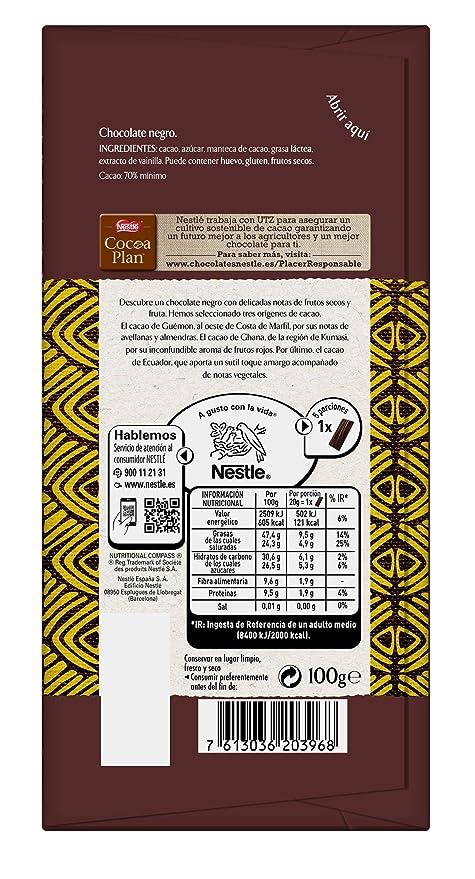 NESTLÉ Les Recettes de LAtelier Chocolate Negro 70% Cacao Tableta - Paquete 16 x 115 gr - Total: 1.84 kg: Amazon.es: Alimentación y bebidas