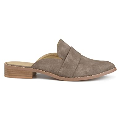 ce0a79576d80 Womens Faux Leather Slip-on Almond Toe Mules Grey