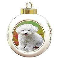 Bichon Frise Dog Round Ball Christmas Ornament