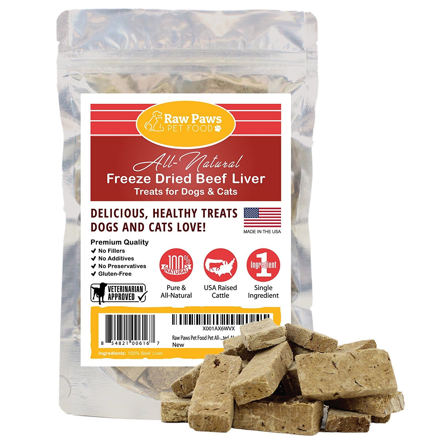 4-ounce Raw Paws Pet Food Pet All-Natural Freeze Dried Beef Liver Treats for Dogs & Cats No Preservatives, Grain Free, USDA Inspected, Made in The USA, 4 oz