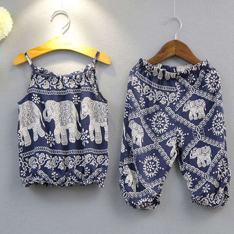 d41546e0d 2Pcs Set Kids Baby Girls Elephant Jumpsuit Romper