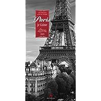 Paris, je t'aime 2019, Wandkalender in Schwarz-Weiß im Hochformat (33x66 cm) - Städtekalender / Literaturkalender mit Zitaten mit Monatskalendarium (Literarische Reihe)