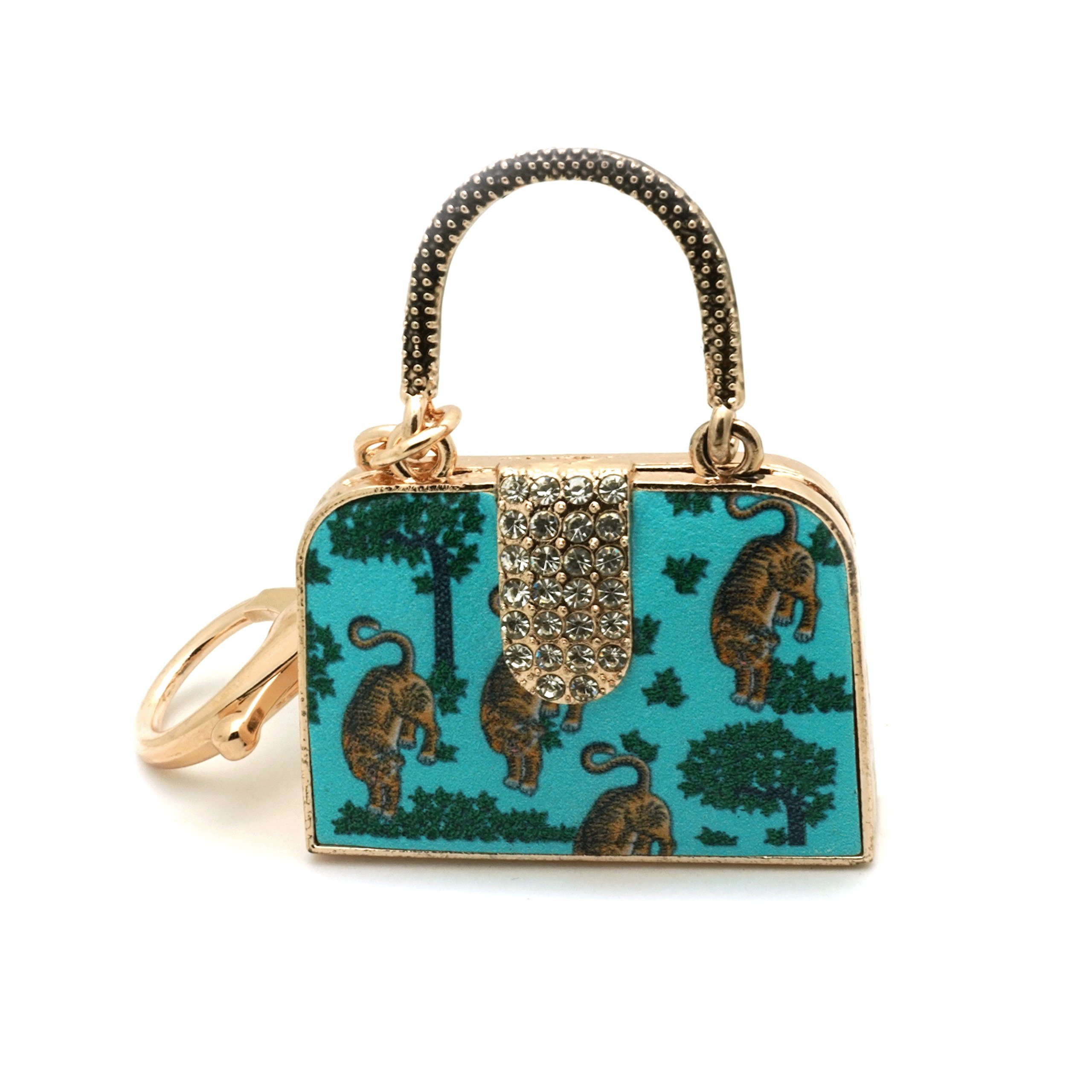 Teri's Boutique Print 3D Women Fashion Bag Purse Charm Car Keyring Keychain (Tigar)