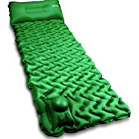 Camping Sleeping Pad Mat POPCHOSE with Air Pillow Foot Press Compact Lightweight Inflatable Backpacking Pad Built in…