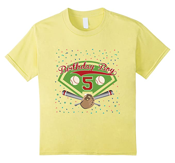 Kids 5th Fifth 5 Five Years Happy Birthday Boy Baseball T Shirts 4 Lemon