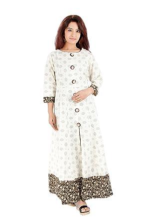 R'Square off-white anarkali style women's kurti: Amazon in