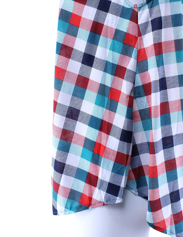 Ladies Code Womens Sleeveless Hidden Button Down Flowy Plaid Shirt Relaxed Fit