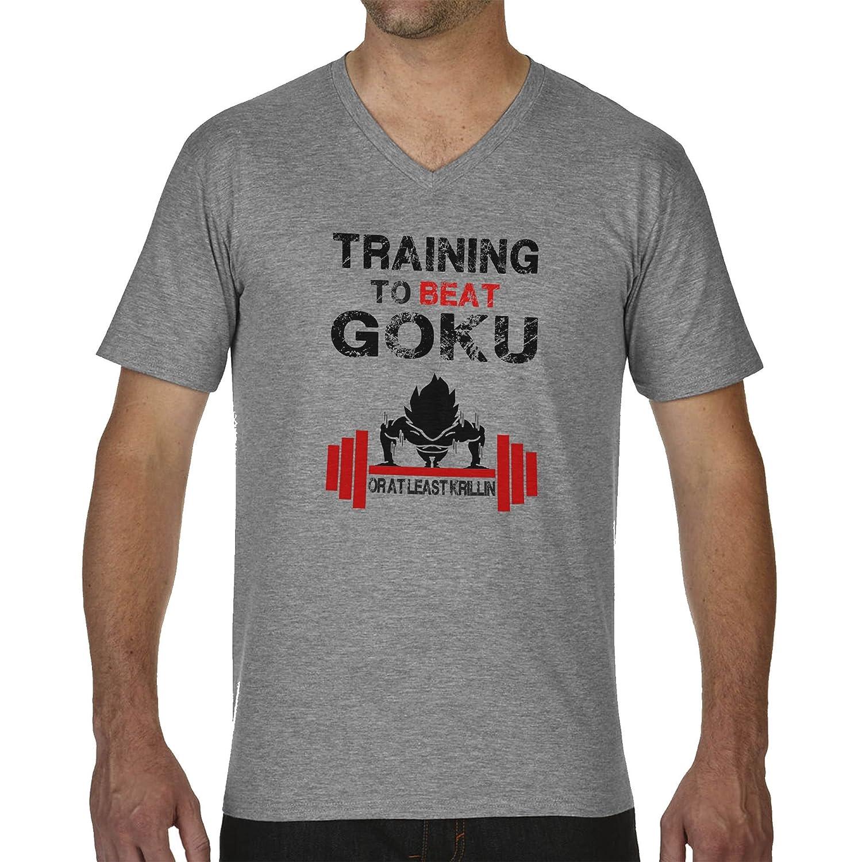 Amazon.com: Bodybuilding Training to Beat Goku Dragonball Atheltic FB Banksy Logo Mens T-Shirt V Neck: Clothing