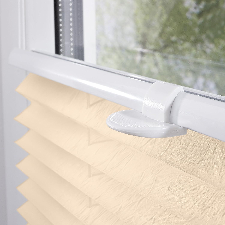 Wei/ß tendu Wohn-Guide Store pliss/é avec syst/ème de Fixation sans per/çage Tissu Polyester 60 x 130 cm