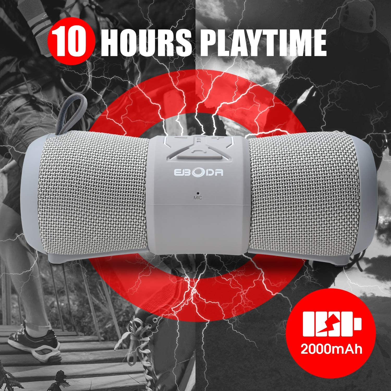 Camping- Gray Hands-Free Beach 8H Playtime for Outdoor Biking Waterproof Bluetooth Speaker,EBODA Shower Speakers Bluetooth IP67 Waterproof Portable,12W Bass Stereo Sound Hiking Floating Mic