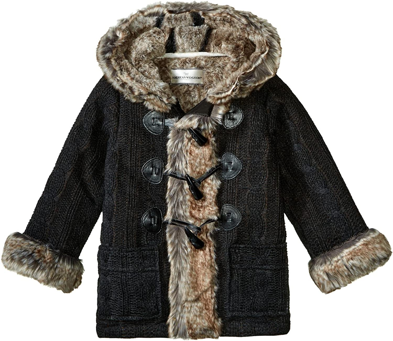 Widgeon Girls Hooded Faux Fur Trimmed Sweater Coat