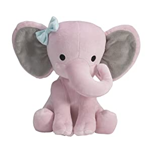 "Bedtime Originals Twinkle Toes Plush Elephant 10"" Hazel - Pink, Gray, Animals"