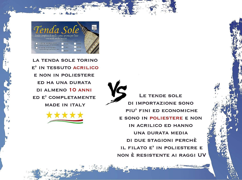tex family Tenda Sole da Esterno Giardino Balcone Unito Blu CONFEZIONATA Cm 140x250