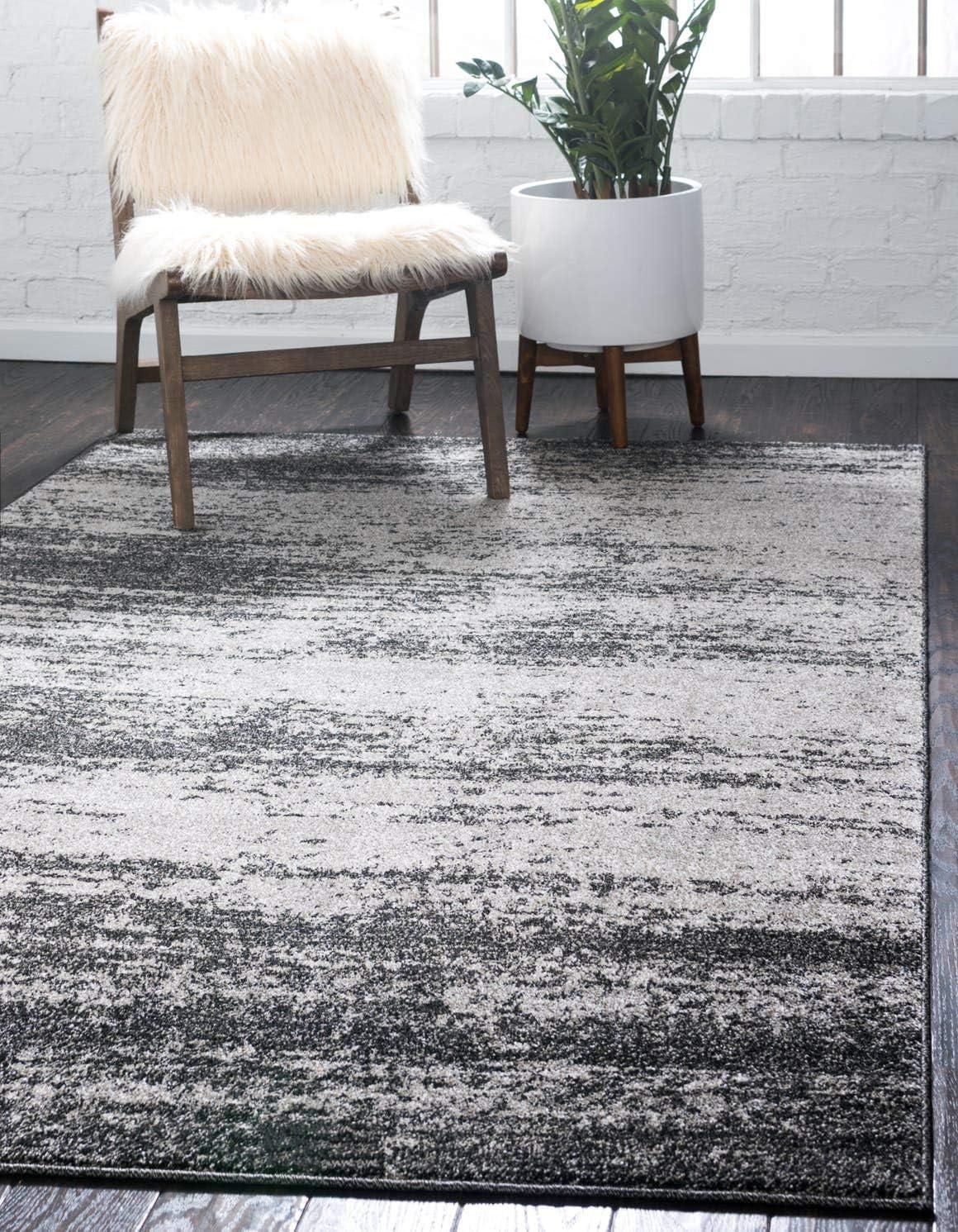 Unique Loom Del Mar Collection Contemporary Transitional Dark Gray Area Rug 9 0 x 12 0