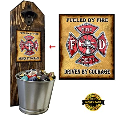 Firefighter  Hero Wall Mounted Bottle Opener and Cap Catcher - Handcrafted by a Vet - 100% Solid Pine 3/4  Thick - Rustic Cast Iron Bottle Opener and Galvanized Bucket - To empty, twist the bucket!