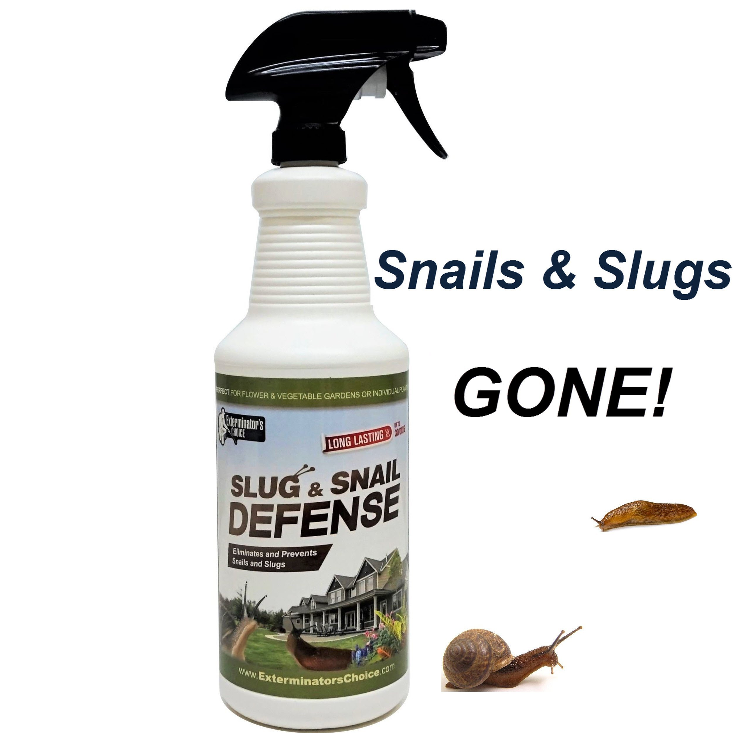 Slug and Snail Defense by Exterminator's Choice- Repellent Spray 32 oz- Works on all types of snails and slugs-perfect for any gardener's tool box | All Natural Garden Repellent Spray | Outdoor…