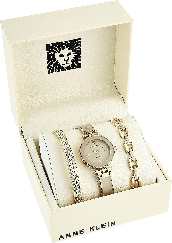 Anne Klein Women's Genuine Diamond Dial Watch and Bracelet Set, AK/3346 Gold/Taupe