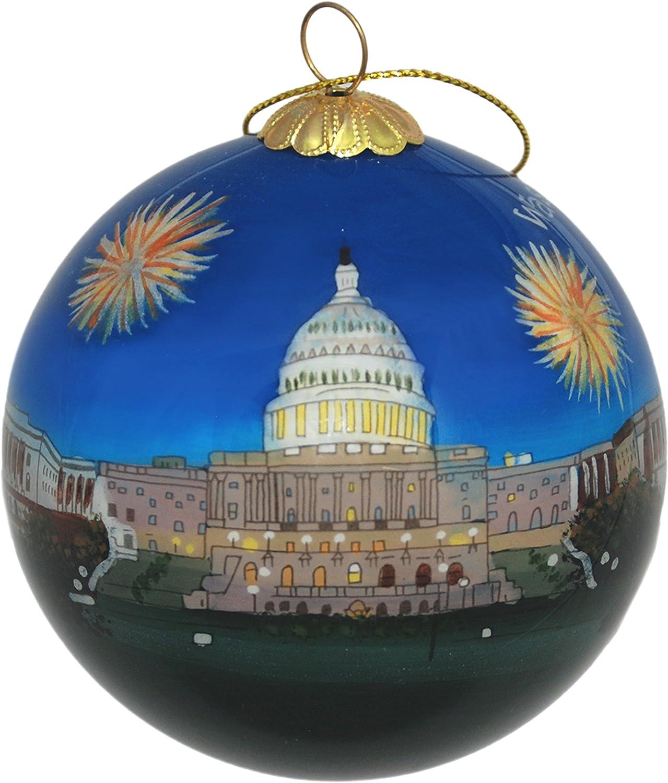 Hand Painted Glass Christmas Ornament - Washington D. C. – U.S. Capitol Fireworks