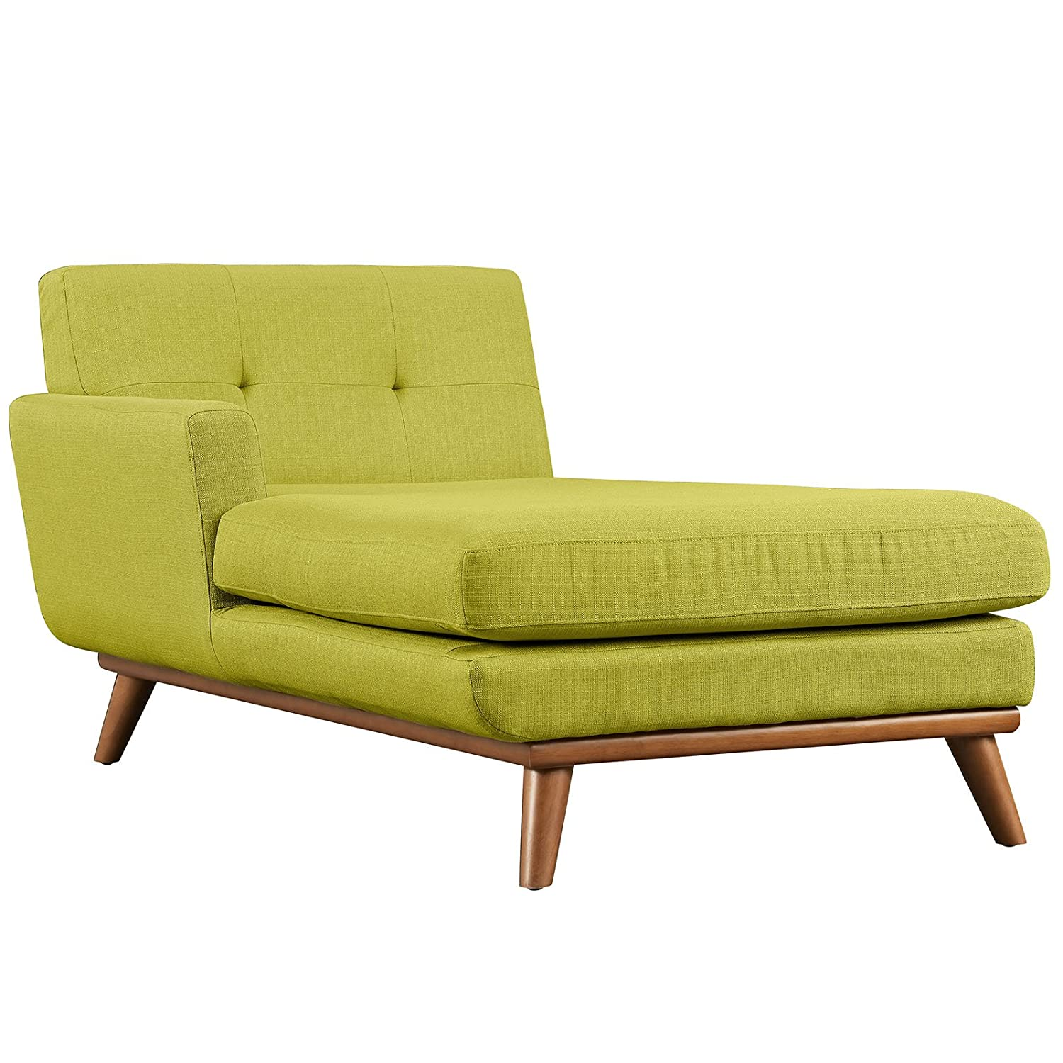 Modern Contemporary Left-Arm Chaise - Green - Fabric