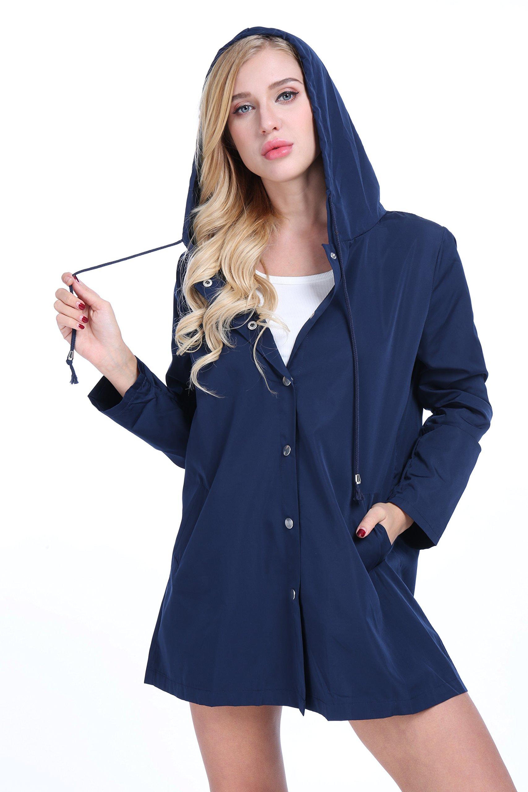 FISOUL Womens Raincoats Waterproof Lightweight Hooded Active Outdoor Rain Jacket